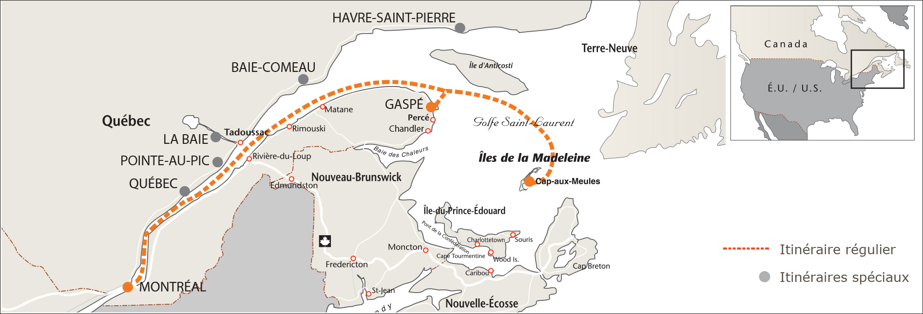 itineraire regulier MAP